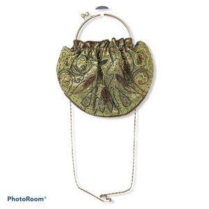 Vtg Gold Lamé Crossbody Clutch Evening Bag